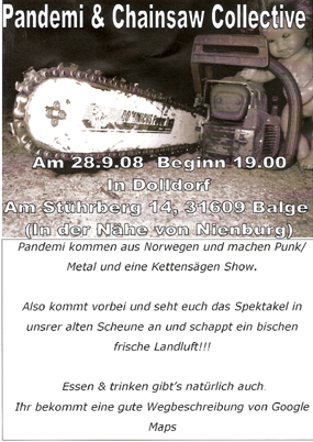 PANDEMI & CHAINSAW COLLECTIVE (Punk aus Nor), Dolldorf, Am Stührberg 14, 31609 Balge.